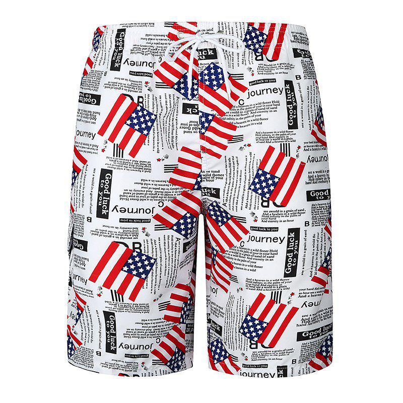 National Flag Men's Casual Beach Pants - WHITE M