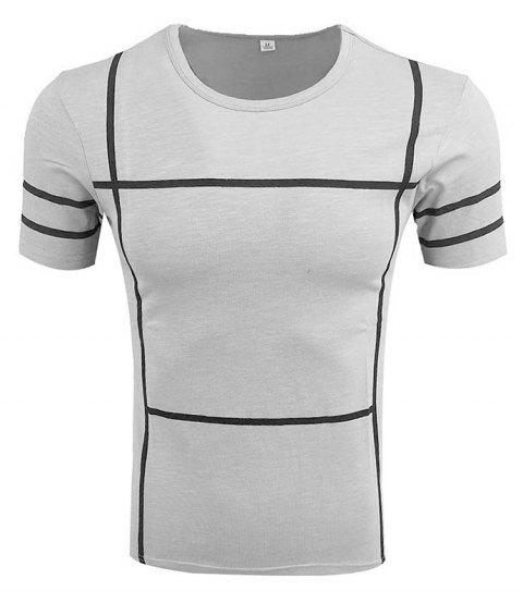 Men's Short Sleeve Round Neck Simple T-shirt - GRAY 4XL