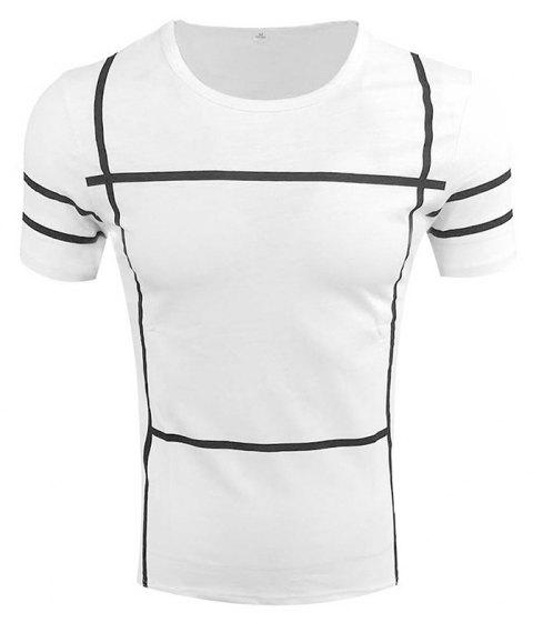 Men's Short Sleeve Round Neck Simple T-shirt - WHITE 4XL