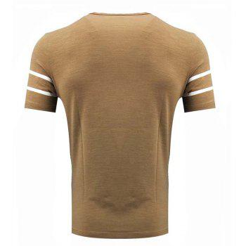 Men's Short Sleeve Round Neck Simple T-shirt - GINGER BROWN 4XL