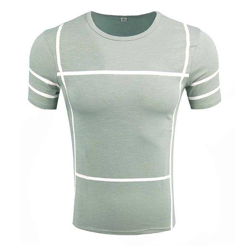 Men's Short Sleeve Round Neck Simple T-shirt - LIGHT BLUE 4XL