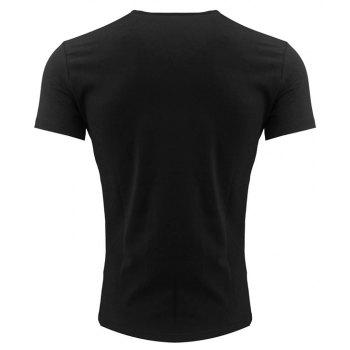 Men's Printed Round Neck T-shirt - BLACK 4XL