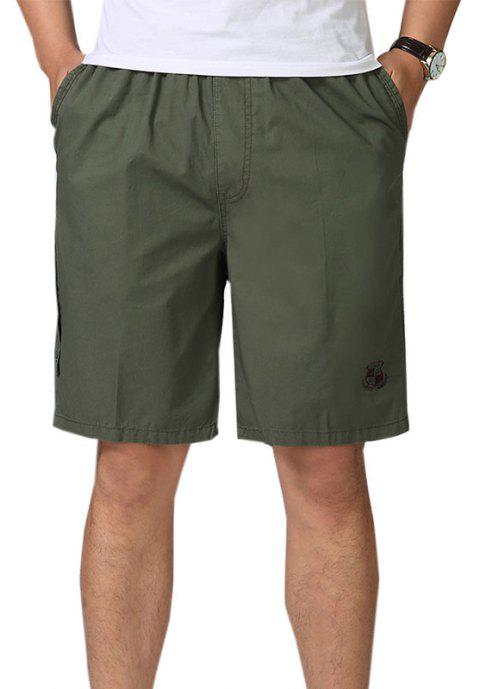 Men Casual Plus Size Shorts Mid Waist Brief Design Solid Color Shorts - ARMY GREEN 5XL