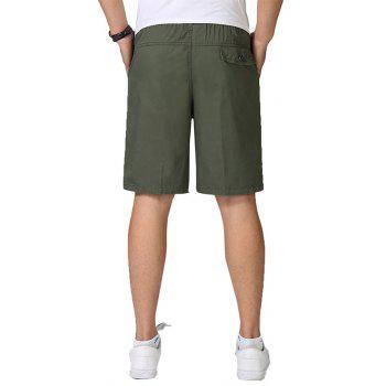 Men Casual Plus Size Shorts Mid Waist Brief Design Solid Color Shorts - ARMY GREEN 4XL