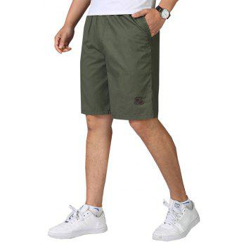 Men Casual Plus Size Shorts Mid Waist Brief Design Solid Color Shorts - ARMY GREEN 2XL