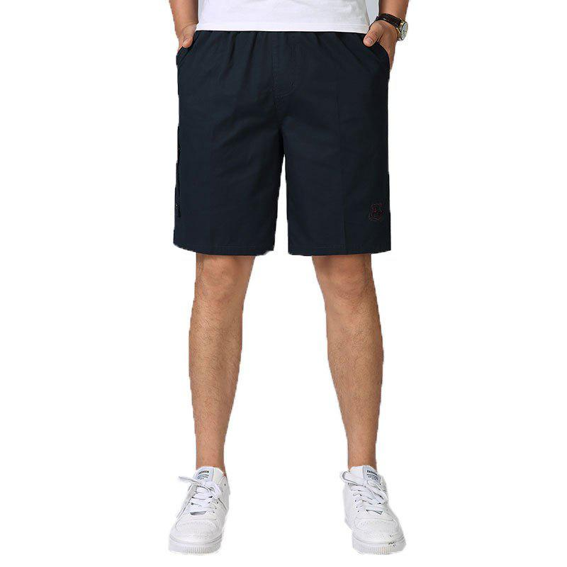 Men Casual Plus Size Shorts Mid Waist Brief Design Solid Color Shorts - BLACK XL