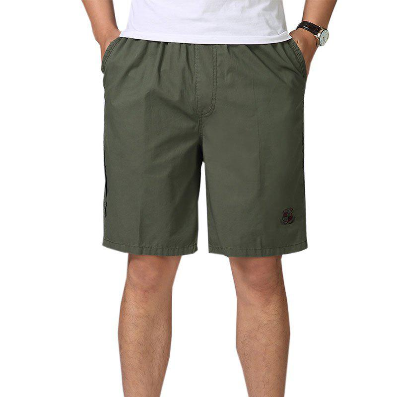 Men Casual Plus Size Shorts Mid Waist Brief Design Solid Color Shorts - ARMY GREEN XL