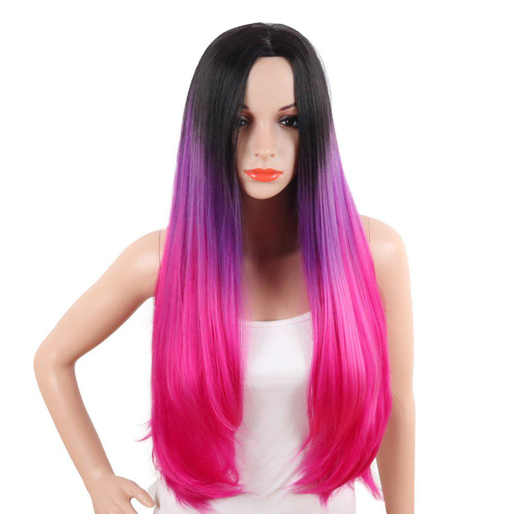Women Long Natural Straight Black Red Ombre High Tempreture Synthetic Hair Wigs classic femal long black wigs with neat bangs synthetic hair wigs for black women african american straight full wigs false hair