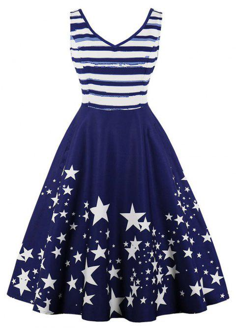 Plus Size Sleeveless The Stars Printed Pocket Dress - DEEP BLUE 2XL