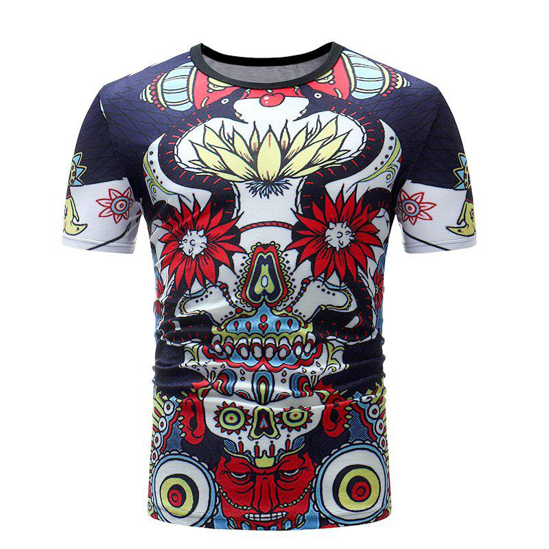 Men Print Casual Short Sleeve T-shirt - multicolor D 3XL