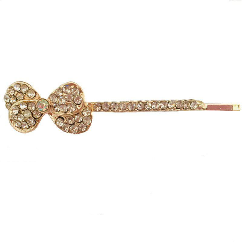 New Simple and Stylish Personalized Diamond Double Bow Hair Clip - GOLD