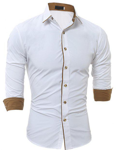 New Classic Color Personality Striped Men's Casual Slim Long-Sleeved Shirt - WHITE 3XL