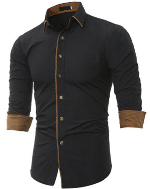 New Classic Color Personality Striped Men's Casual Slim Long-Sleeved Shirt - BLACK 3XL
