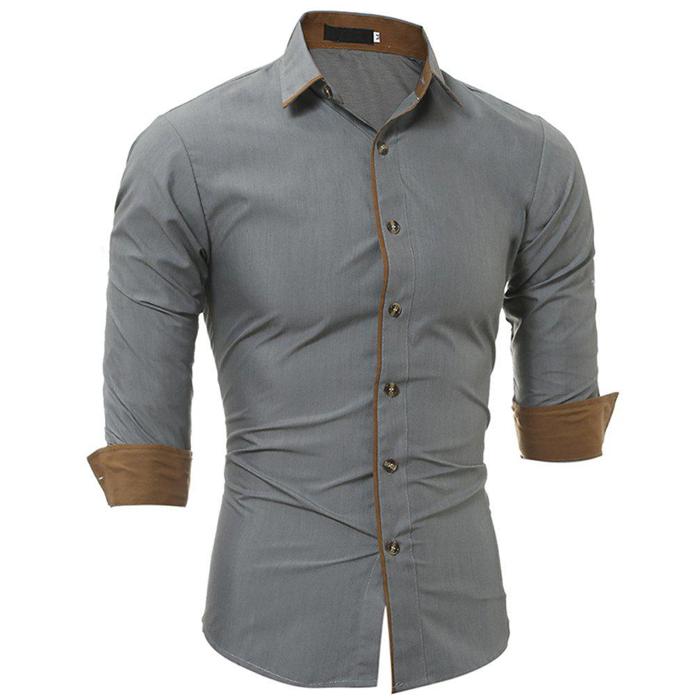 New Classic Color Personality Striped Men's Casual Slim Long-Sleeved Shirt - GRAY 3XL