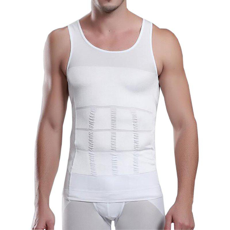 Men's Body Shaper Slimming Shirt Tummy Waist Vest - WHITE XL