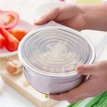 High Quality 6 PCS Silicone Stretchable Lid Durable Expandable Food Saver Cover - WHITE