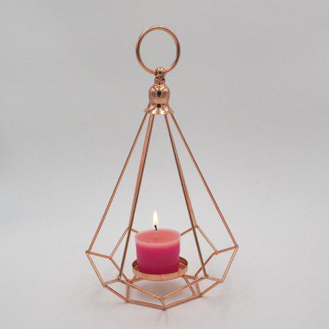Metal Hanging Candle Holder Diamond Shaped Iron Art Tealight Candlestick - CHAMPAGNE