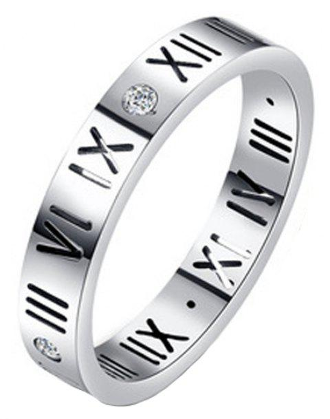 Fashion Delicate Roman Numerals Rings for Women and Men Couple Wedding Rings - SILVER 7