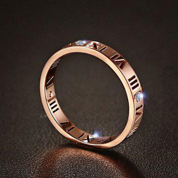 Fashion Delicate Roman Numerals Rings for Women and Men Couple Wedding Rings - ROSE GOLD 7