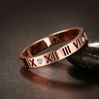 Fashion Delicate Roman Numerals Rings for Women and Men Couple Wedding Rings - ROSE GOLD 5