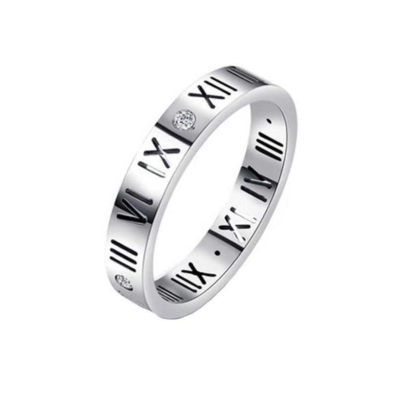 Fashion Delicate Roman Numerals Rings for Women and Men Couple Wedding Rings - SILVER 9