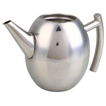 1L Stainless Steel Kettle Teapot Coffee Pot Filter Strainer Home Barware - SILVER