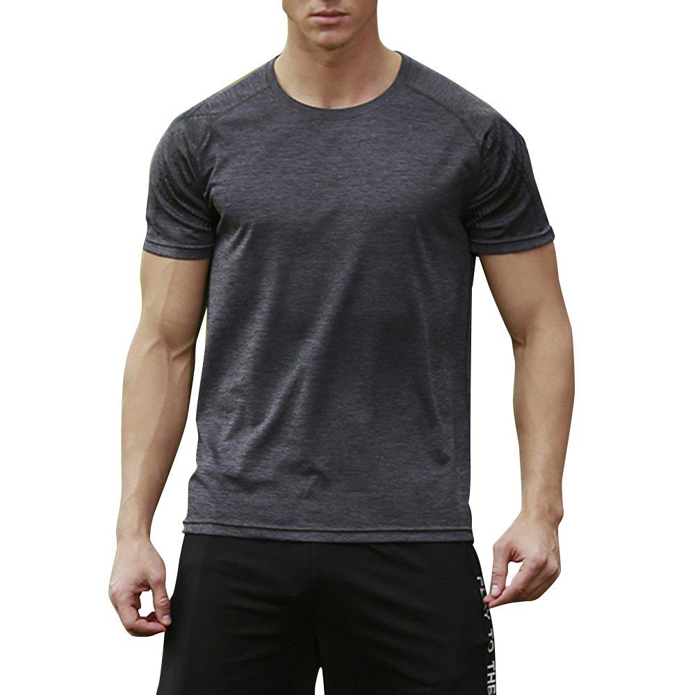 Men's Brief Design O Neck Solid Color T Shirt - DARK GRAY XL