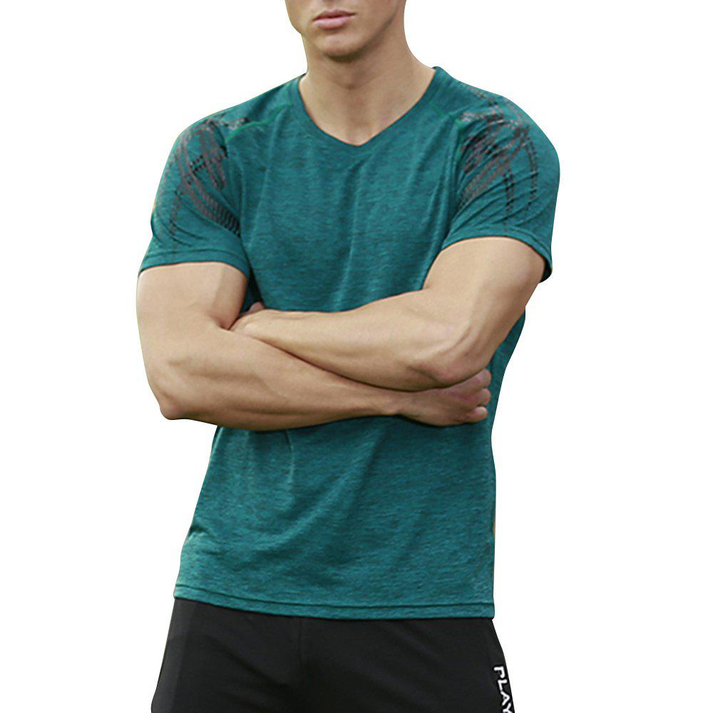 Men's Brief Design O Neck Solid Color T Shirt - GREENISH BLUE 3XL