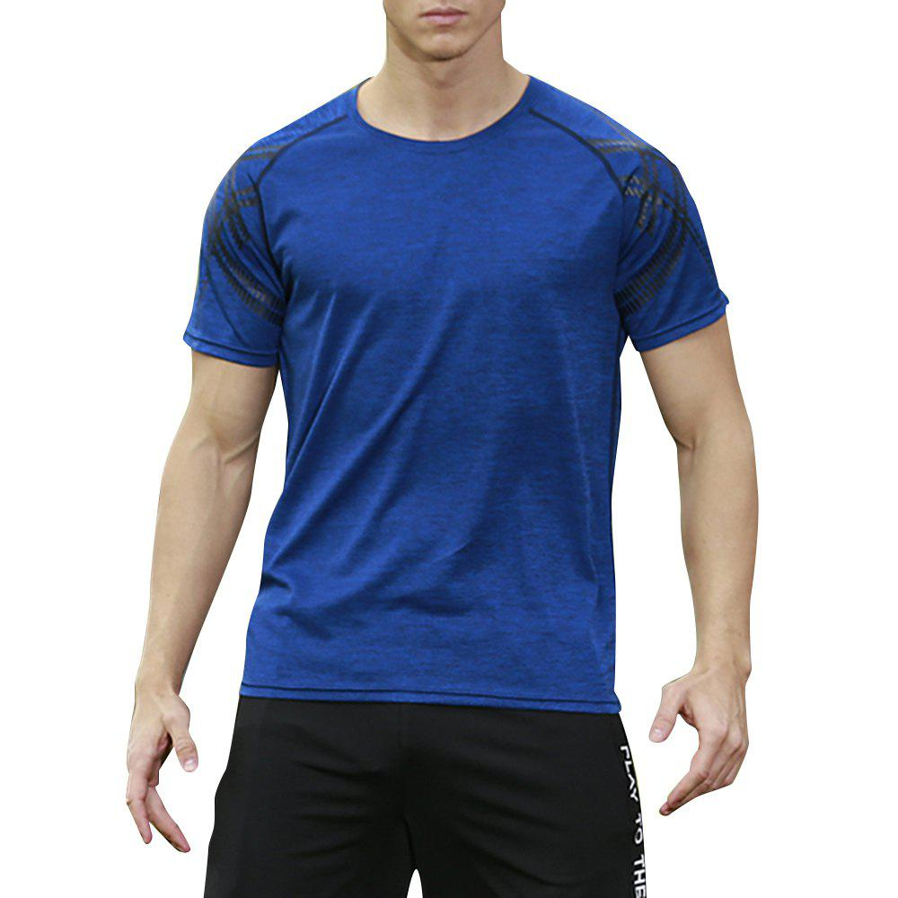 Men's Brief Design O Neck Solid Color T Shirt - BLUE 3XL