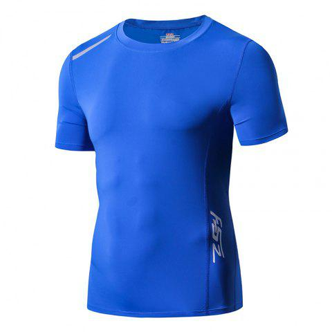 Men Quick Drying Sport Yago Fitness T-shirt - BLUE L