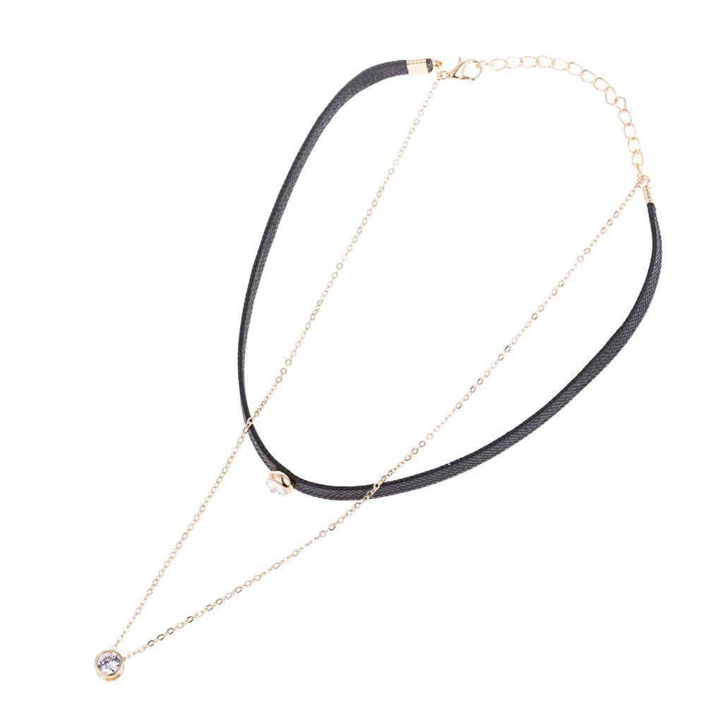 Black and Gold Double-Deck Rhinestone Choker - BLACK