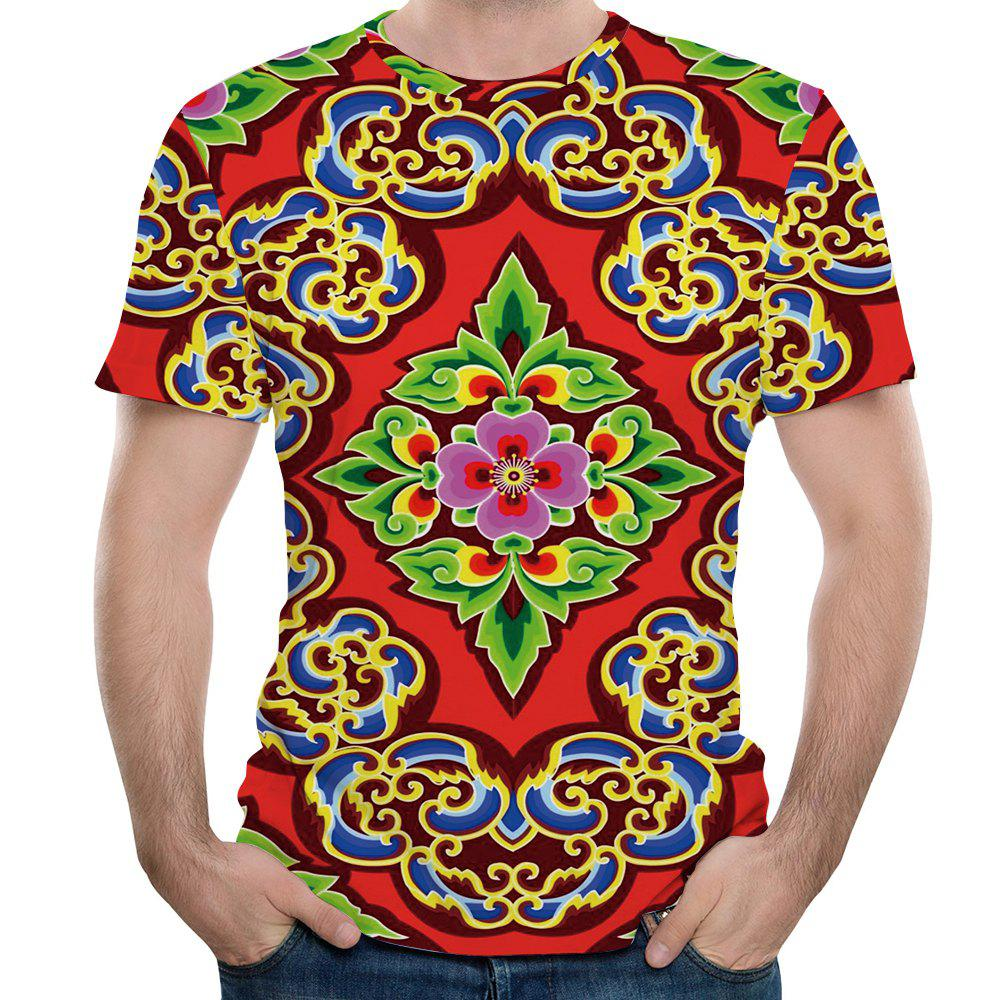 2018 New Fashion Diamond 3d Printed Mens Short Sleeve T Shirt