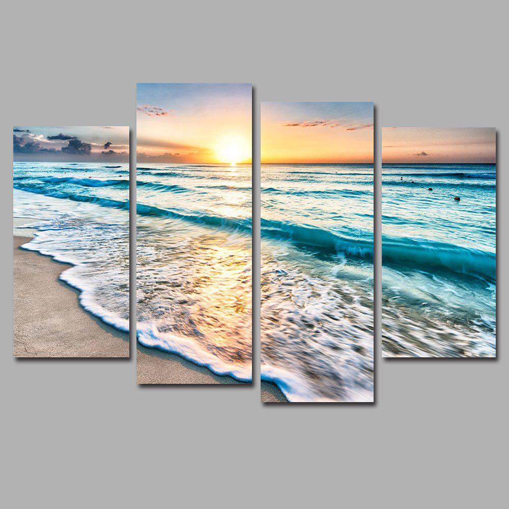 Sunset Beach Frameless Printed Canvas Art Print 4PCS sunset frameless printed canvas wall art paintings 4pcs
