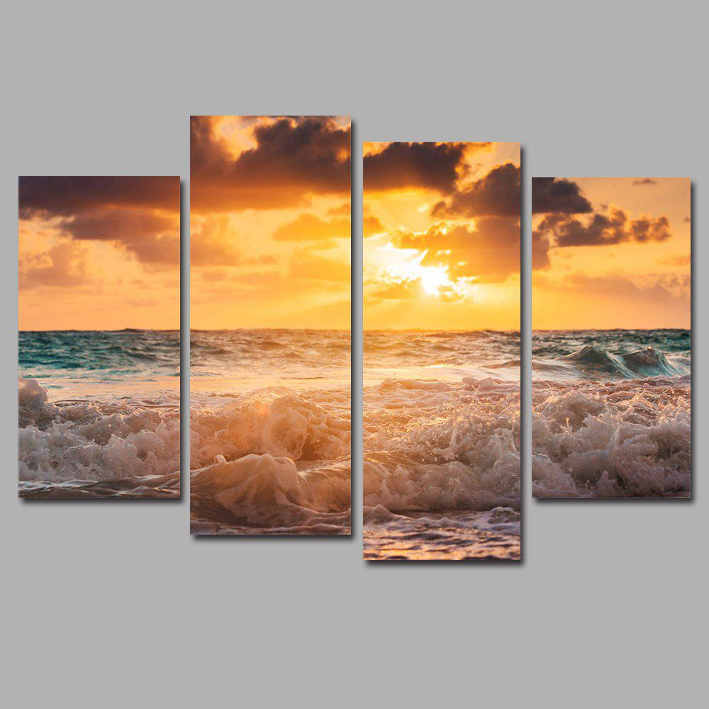 Sunset Waves Frameless Printed Canvas Art Print 4PCS sunset frameless printed canvas wall art paintings 4pcs