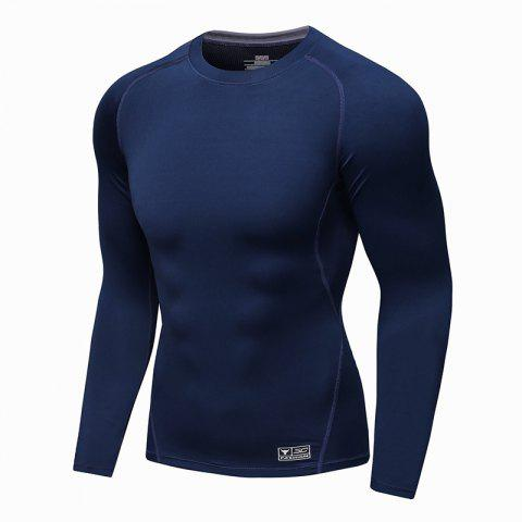 Men Sport Fitness Long Sleeve T-shirt - BLUE XL