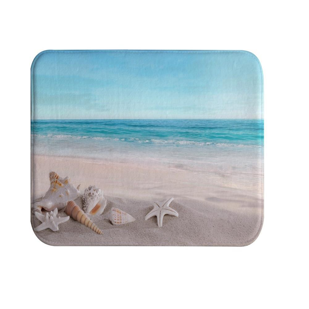 Beach Shells Super Soft Non-Slip Bath Door Mat Machine Washable Quickly Drying funny beach shoes super soft non slip bath door mat machine washable