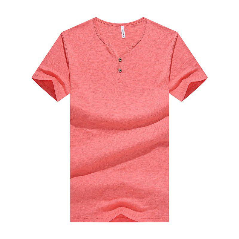Men Button Chic Original Design Skin-Friendly Trendy Tee T-Shirt men button decoration plain tee