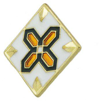 Square Brooch with Cross and Flower Pattern - GOLD