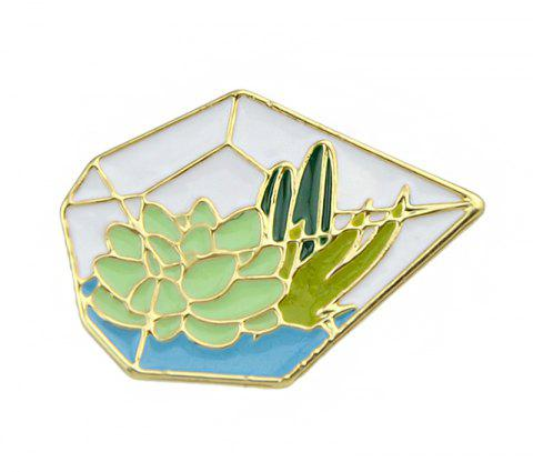 Gold-color Green Pentagon Grass Cactus Lotus Brooch - GOLD