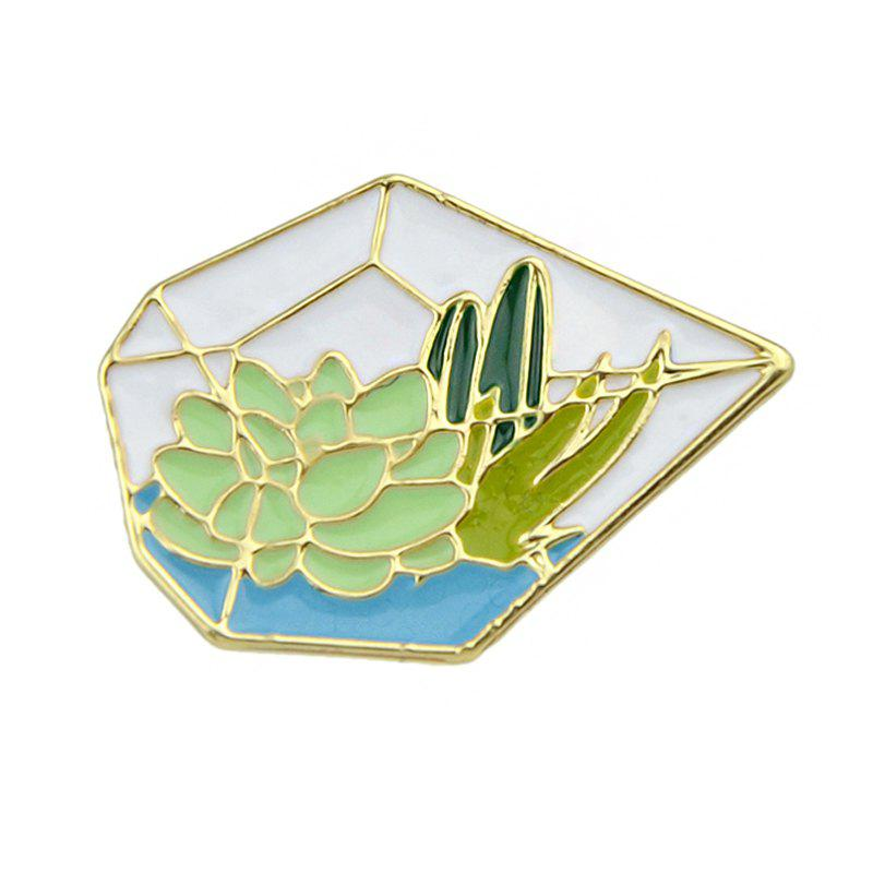 Gold-color Green Pentagon Grass Cactus Lotus Brooch все цены