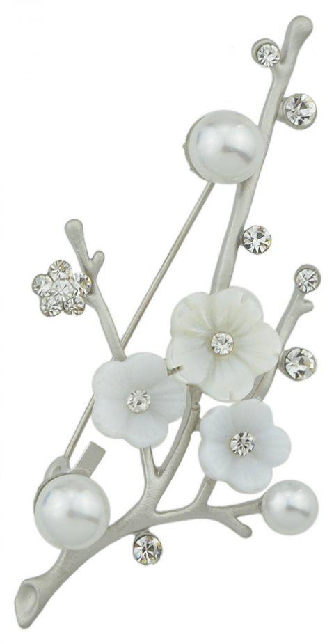 Natural Shellfish Flower Brooch for Women Girl - SILVER