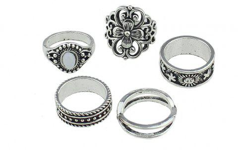 Flower Sun White Opal Knuckle Ring Jewelry - SILVER RING SET