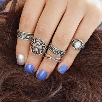 Flower Sun White Opal Knuckle Ring Jewelry - SILVER ONE-SIZE