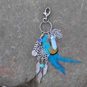 Bohemian Feathered Opal Alloy Key Ring - multicolor