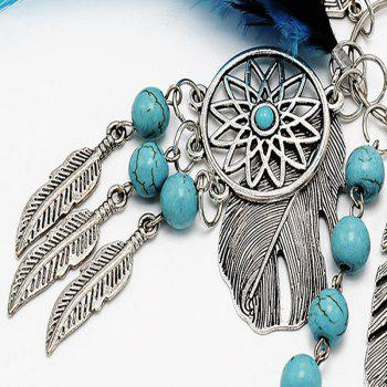 Popular Natural Turquoise Alloy Leaves Dreamcatcher Key Chain - MEDIUM TURQUOISE