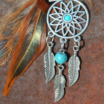 Fashion Natural Crystal Feather Alloy with Dreamcatcher Key Chain - multicolor