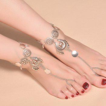 Exaggerated Ethnic Style Metal Pendant Drop Tassel Anklet - SILVER