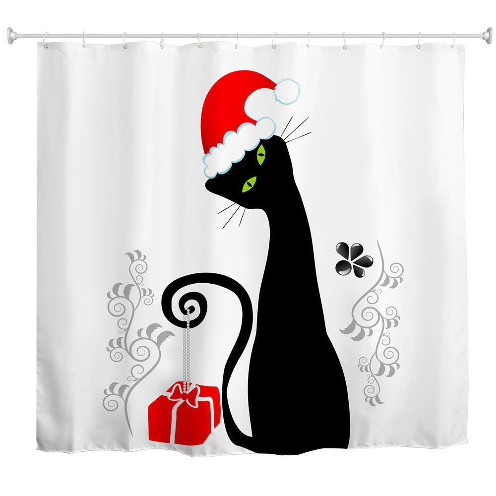 Black Cat with Red Hat Water-Proof Polyester 3D Printing Bathroom Shower Curtain bathroom luxury colourful shower set mixer with bidet shower black shower set bathroom shower faucet bathtub faucet sets