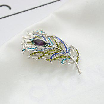 Romantic Feather Brooch Animal Pin Rhinestone Metal Vintage Fashion Jewelry - SILVER