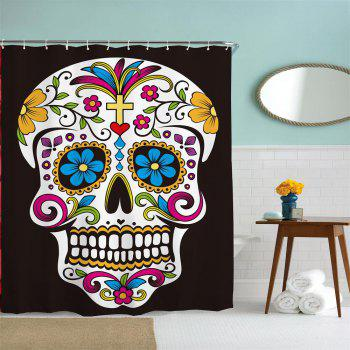 Flowers Skull Water-Proof Polyester 3D Printing Bathroom Shower Curtain - multicolor A W71 INCH * L79 INCH